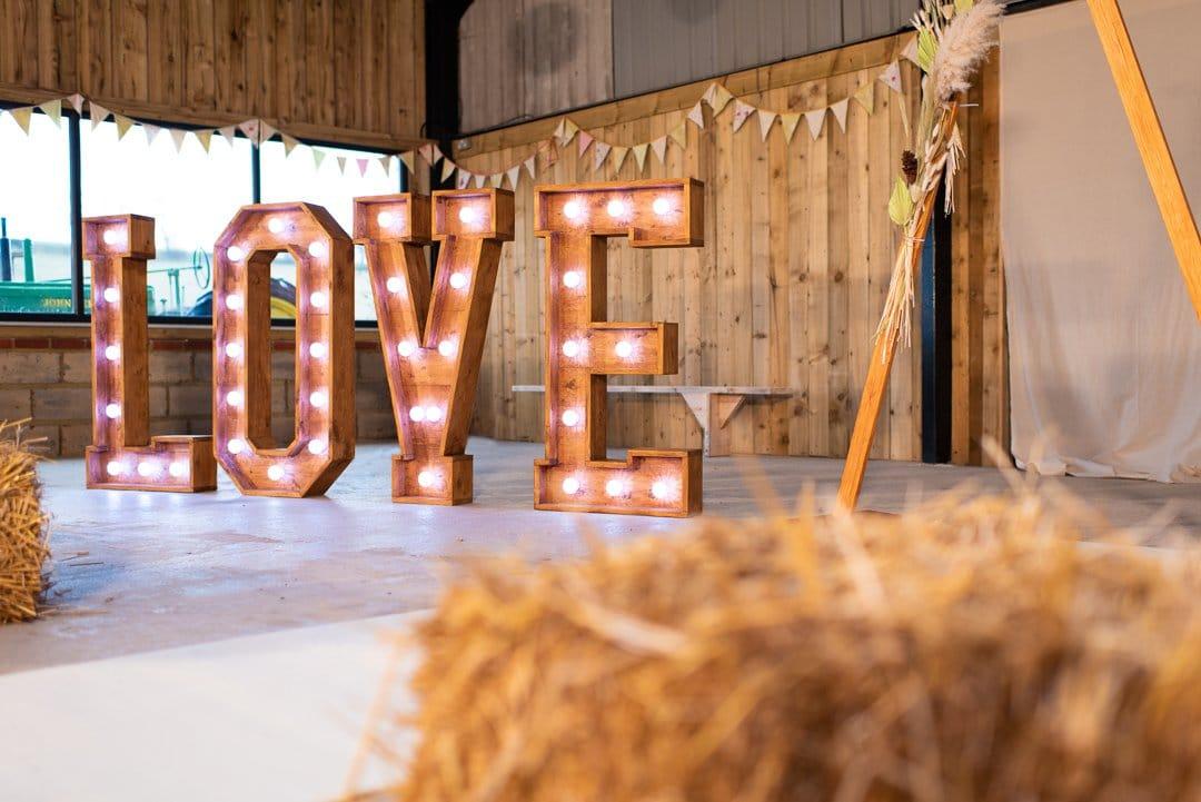 Midlands Online Wedding Fayre Light-up letters