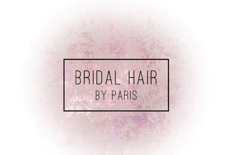 Hair by Paris logo white with pink background
