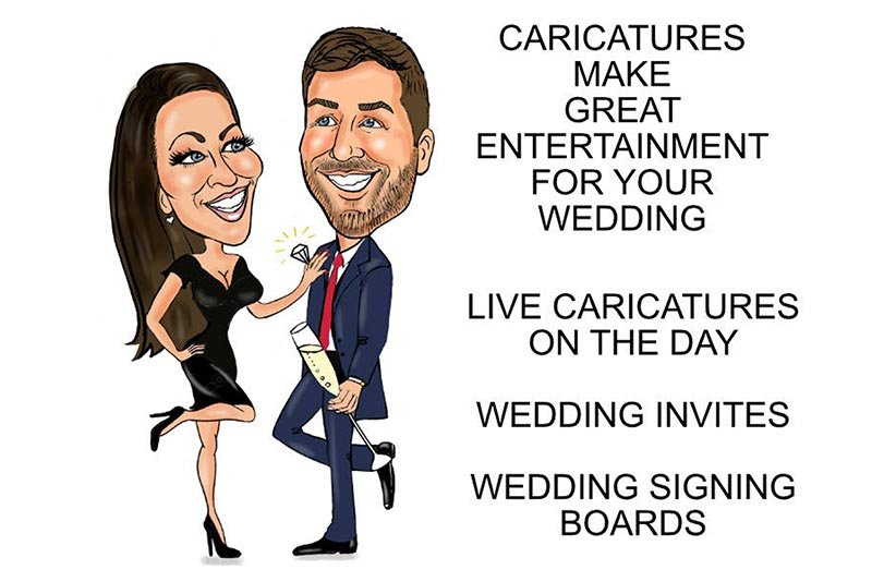 Caricatures of man and woman with text