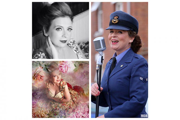 Female vintage singer collage of images