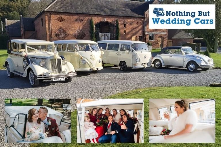 Classic wedding car vw campervan wedding car infront of wedding venue