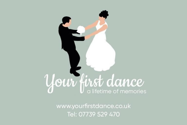 Illustaration of bride and groom dancing