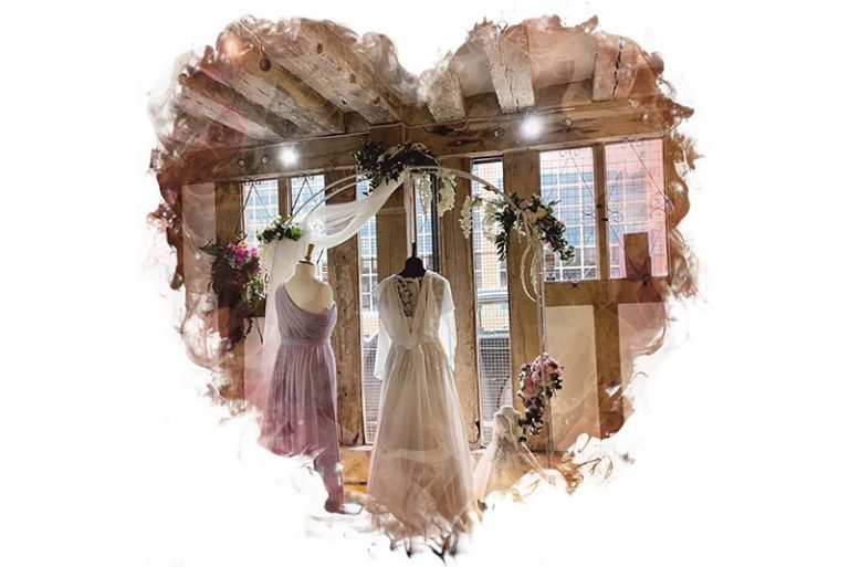 Wedding dress on mannequin in shop